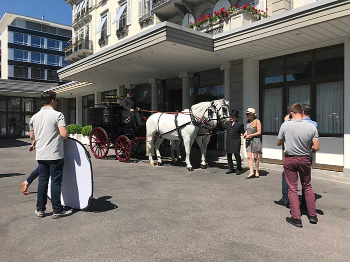 Photo shooting to mark a 175-year history: The Baur au Lac's own horse and carriage in Zurich, Switzerland