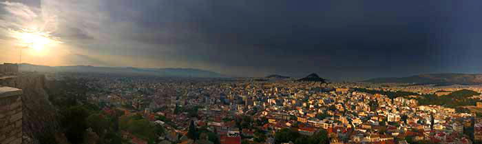 Almost symbolic: Sunrise over Athens, Greece